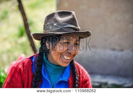 Quechua Woman In A Village In The Andes, Ollantaytambo, Peru