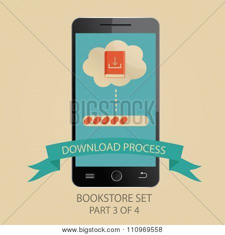 Modern Vector Illustration Of Downloading Process. Picture 3 Of 4