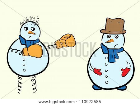 Snowman boxer and usual