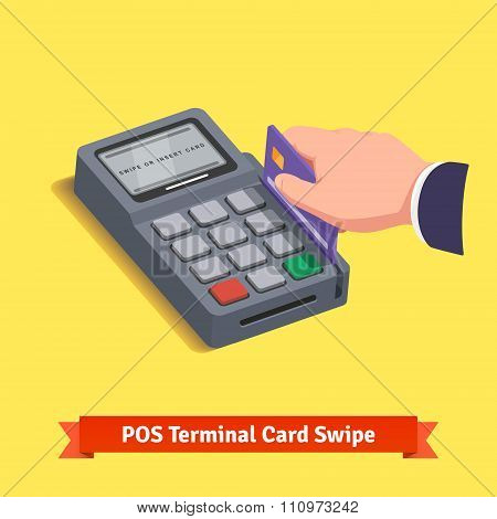 POS terminal transaction. Hand swiping credit card