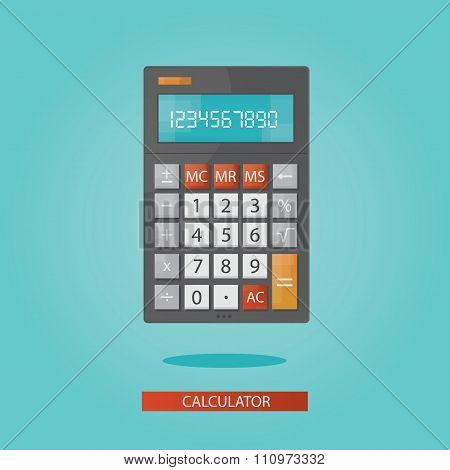 vector illustration of colorful electronic calculator on blue