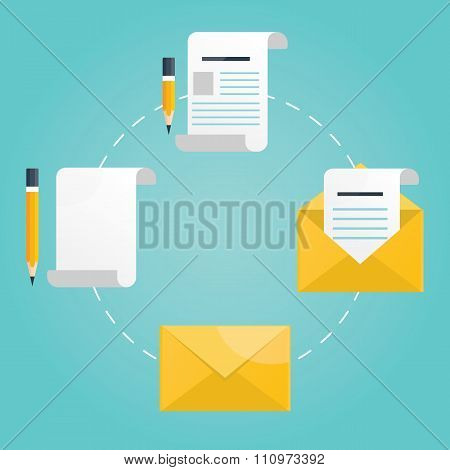 Modern Vector Illustration Of New Mail, Letter With Pencil