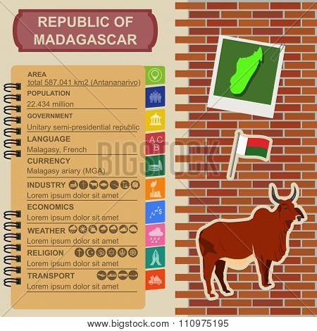 Madagascar infographics, statistical data, sights. Madagascar national symbol zebu