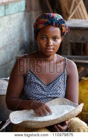 Belo-sur-tsiribhine, Madagascar, November 21, 2015 : Young Lady At The Market. The Majority Of The P