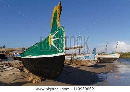Morondava, Madagascar, November 25, 2015 : The Small Harbor Of Morondava. The Outrigger Canoes Are U
