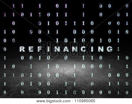 Business concept: Refinancing in grunge dark room