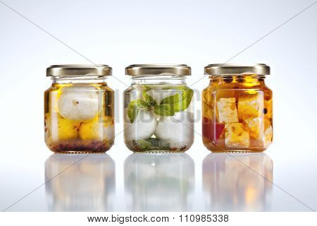 goat cheese in jars