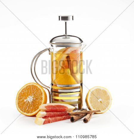 hot lemon-orange tea