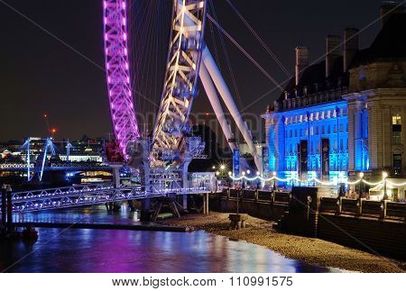 London Eye And County Hall, The Queen's Walk, Night View