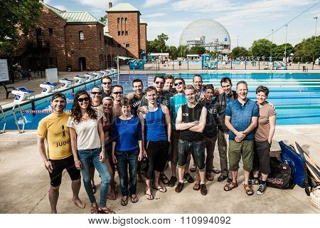 Official Group Shot Of Staff And Athletes Of 2014 Freediving Montreal Cup