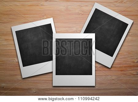 Three Empty Polaroids Photo Frames