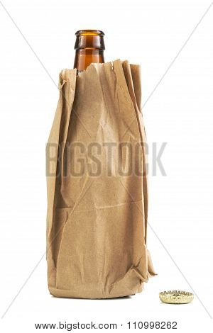 Beer Bottle In Brown Paper Bag
