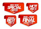 New year special offer, hot price, holiday best price, end of year final clearance, winter sale tags set. poster