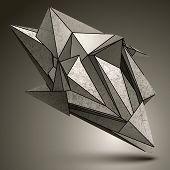 Deformed sharp zink object contrast cybernetic facet element. poster