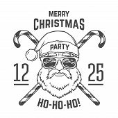 Santa Claus with hipster glasses and candy cones print design. Vintage disco insignia. Christmas old man portrait. Rock and roll logo. New year t-shirt illustration poster