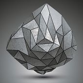 Grunge metallic dimensional object created from geometric figures futuristic spatial design model. poster