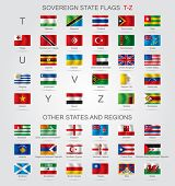 Set of world sovereign state and other flags with captions in alphabet order.  Contains the Clipping Path of all flags poster