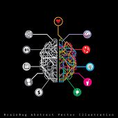 vector abstract digital brain like bug with left and right human brain hemispheres poster