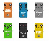 Guitar Effect Pedal collection - Stomp box -  Wah Delay Reverb Overdrive Distortion Fuzz poster