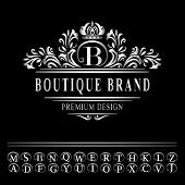 Vector illustration of Monogram design elements graceful template. Elegant line art logo design. Business silver emblem letter B for Restaurant Royalty Boutique Cafe Hotel Heraldic Jewelry Fashion poster