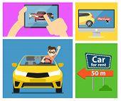 Rent a car banner. Car for rent banner. Business growth. Car loan banner. Rent a car concept. Car hire banner. Rental car. Car leasing. Rent a car infographics. Cars sale. Key car. Car business concept. Rental service. poster