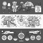 Diagnosis of brain psychology flat design. Psychiatry therapy, disorder and meditation, emotion stress, human mind health, intellect and medicine, mental and neurology. Set of thin, lines icons poster