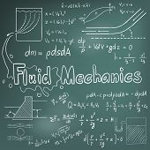 Mechanic of Fluid law theory and physics mathematical formula equation doodle handwriting icon in blackboard background with hand drawn model create by vector poster