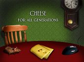 Two mice  looking for cheese on the table poster