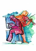 Jazz pianist and violinist playing music on the stage poster