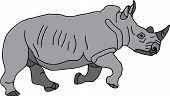 vector- Big Rhino running - isolated on white background poster