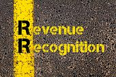 Concept image of Accounting Business Acronym RR Revenue Recognition written over road marking yellow paint line. poster