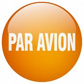 par avion orange round gel isolated push button poster