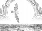 pencil sketch of bird flying in front of the moon poster