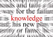 blurred text with a focus on knowledge poster