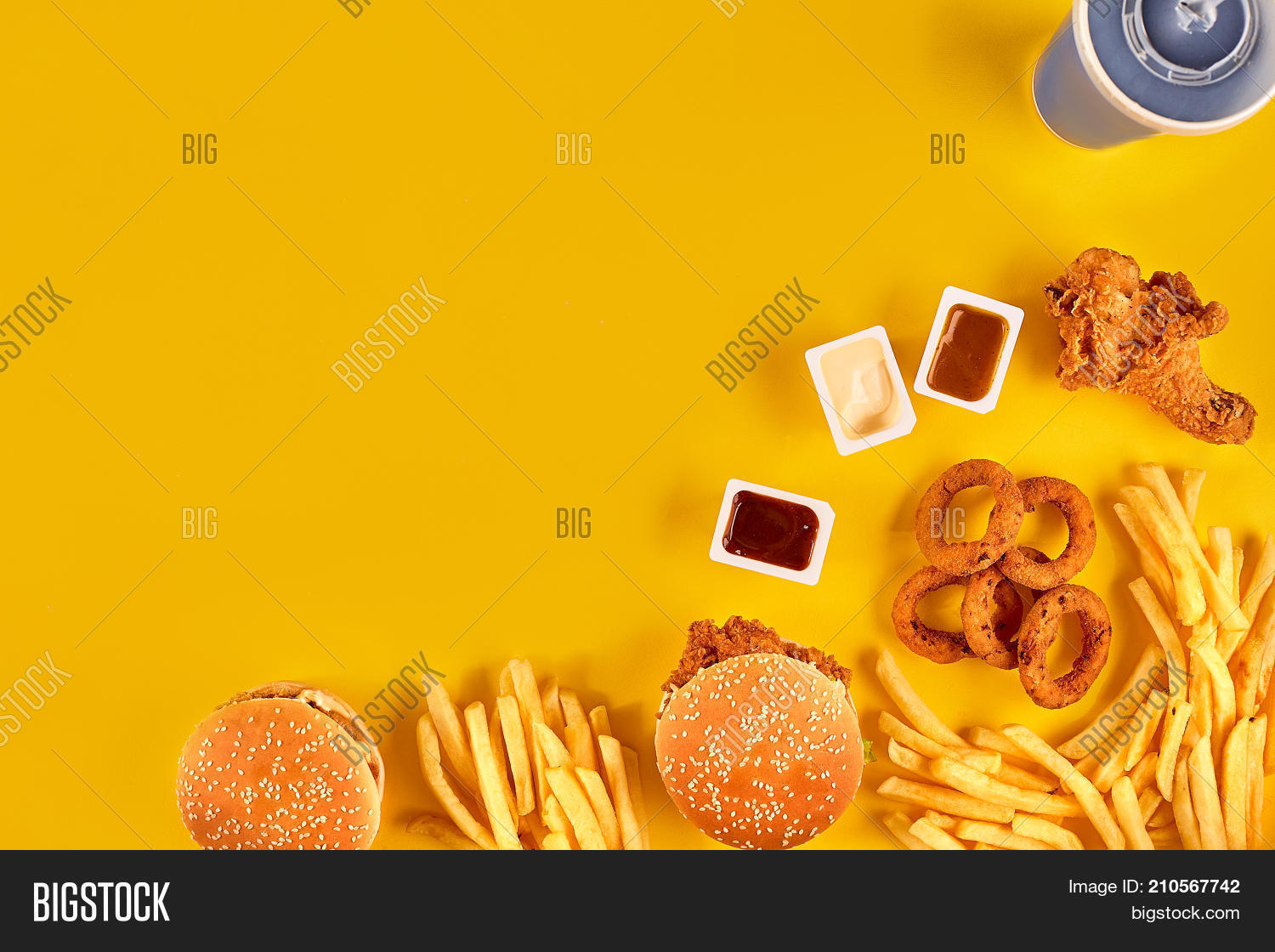 Fast Food Dish Top View Meat Burger Potato Chips And Chicken Take Away