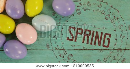 illustration of spring for easter against easter purple, green and pink eggs