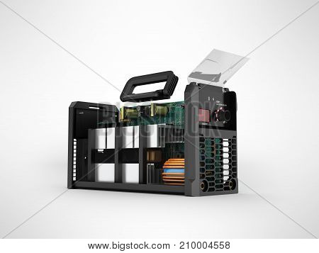 Inverter Welding Machine Disassembled In A 3D Render Section On A Gray Background