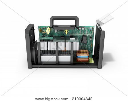 Modern Inverter Welding Machine On Microcircuits Is Dismantled From The Side 3D Rendering On A White