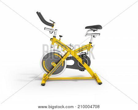 Modern Sport Exercise Bike For Gym Yellow 3D Render On White Background