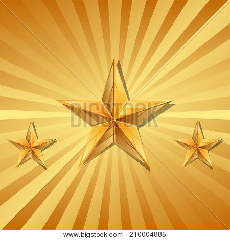 Vector illustration of 3 gold stars .