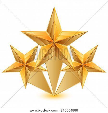 Vector illustration of 3 gold stars .