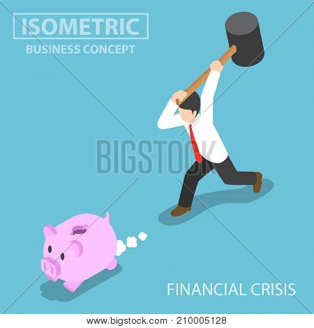 Isometric Businessman Trying To Break Piggy Bank.