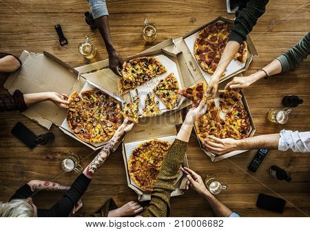 People Hands Grabbing Pizza in Delivery Box