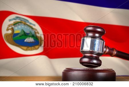 Hammer and gavel against 3d against costa rica national flag