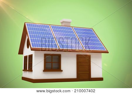 3d illustration of house with solar panels against green background