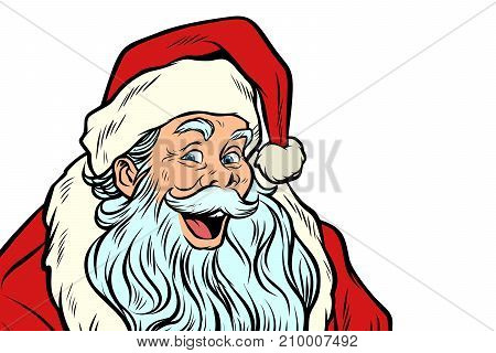 sly Santa Claus isolated on white background. Pop art retro vector illustration
