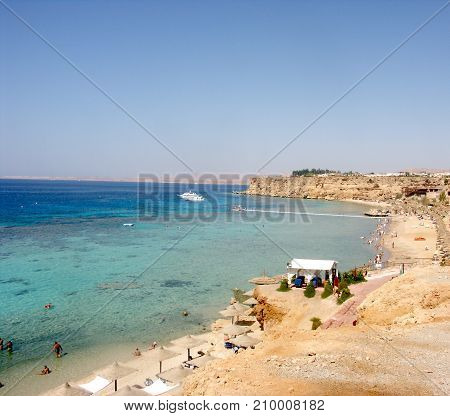 Aerial view of touristic beach red sea seaside in Sharm el-Sheikh in Sinai Egypt poster
