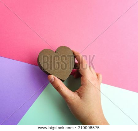 Hands Hold Heart Valentine's Day Paper Mockup
