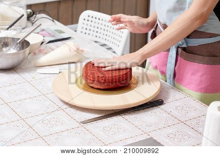 cake, cook, woman, kitchen, chef, baking, cooking, food, pastry, confectioner cakes making girl happyculinary dessert professional beautiful sweet preparation home teaches red
