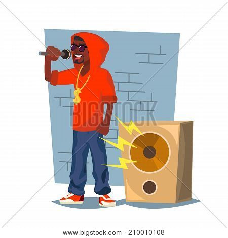 African Rapper Male Vector. Fashionable Hip Hop Man Dude. Isolated On White Cartoon Character Illustration